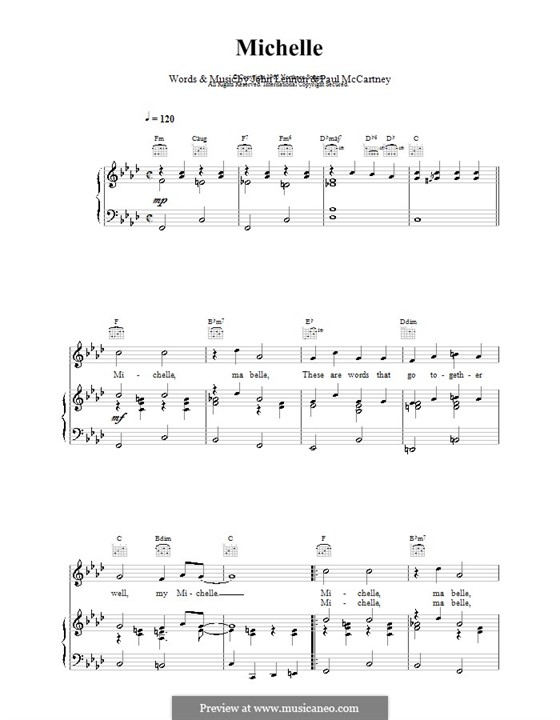 Michelle (The Beatles): Для голоса и фортепиано (или гитары) by John Lennon, Paul McCartney