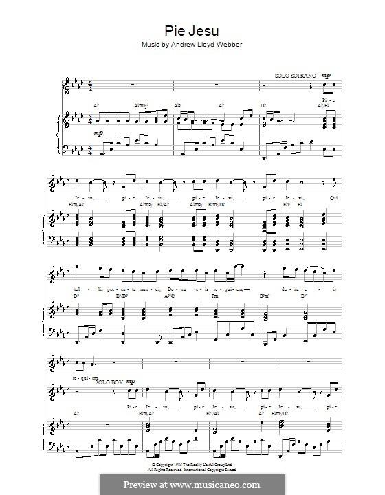 Pie Jesu (from Requiem): Для голоса и фортепиано (или гитары) by Andrew Lloyd Webber