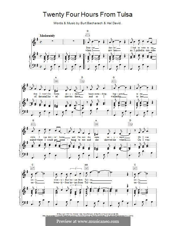 Twenty-Four Hours from Tulsa: Для голоса и фортепиано (или гитары) by Burt Bacharach