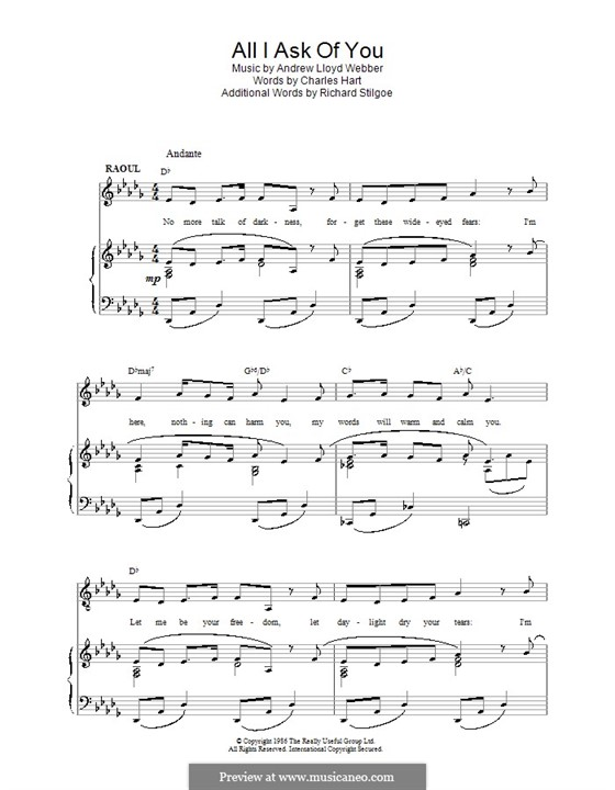 All I Ask of You: Для голоса и фортепиано (или гитары) by Andrew Lloyd Webber