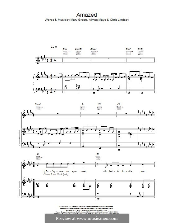 Amazed (Lonestar): Для голоса и фортепиано (или гитары) by Aimee Mayo, Chris Lindsey, Marv Green