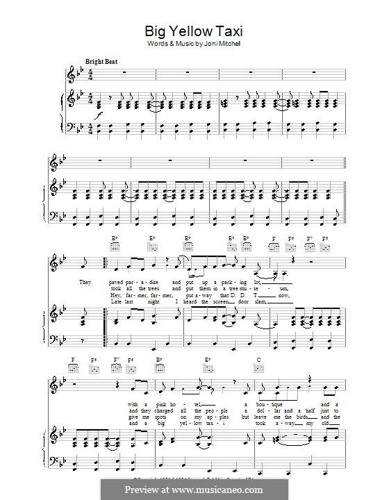 Big Yellow Taxi: Для голоса и фортепиано (или гитары) by Joni Mitchell