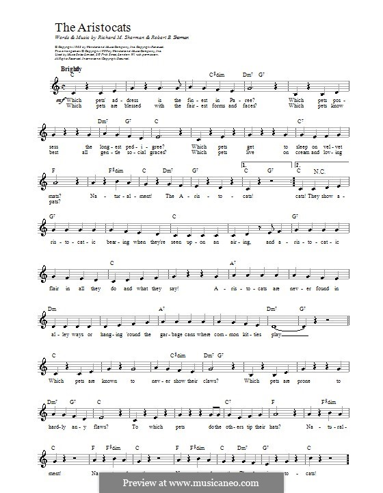 The Aristocats: Мелодия, текст и аккорды by Richard M. Sherman, Robert B. Sherman