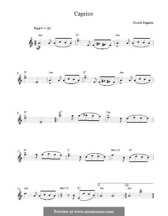 Двадцать четыре каприса, Op.1: Caprice No.24, melody line and chords by Никколо Паганини