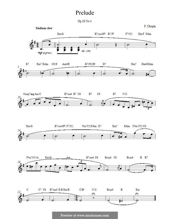 No.4 ми минор: Мелодия, текст и аккорды by Фредерик Шопен