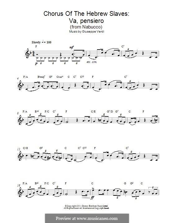 Va' Pensiero (Chorus of the Hebrew Slaves): Мелодия by Джузеппе Верди