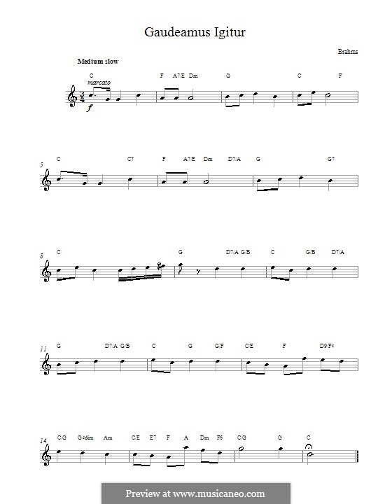 Gaudeamus Igitur: Мелодия, текст и аккорды by Иоганнес Брамс