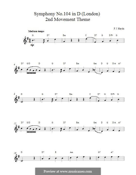 Симфония No.104 ре мажор 'Лондонская', Hob.I/104: Movement II. Melody line and chords by Йозеф Гайдн
