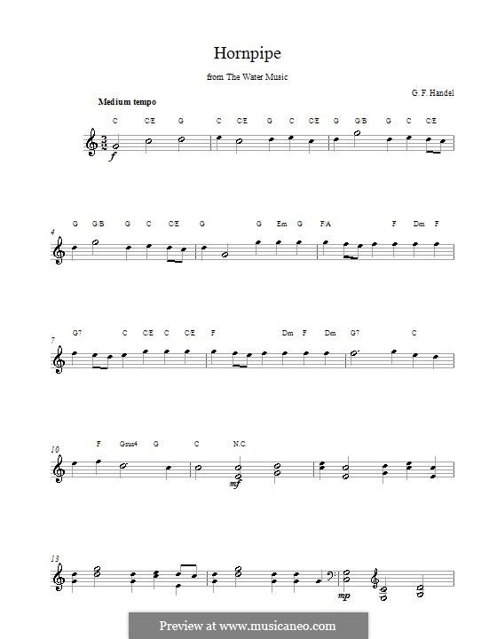 Сюита No.2 ре мажор, HWV 349: Alla Hornpipe, melody line, lyrics and chords by Георг Фридрих Гендель