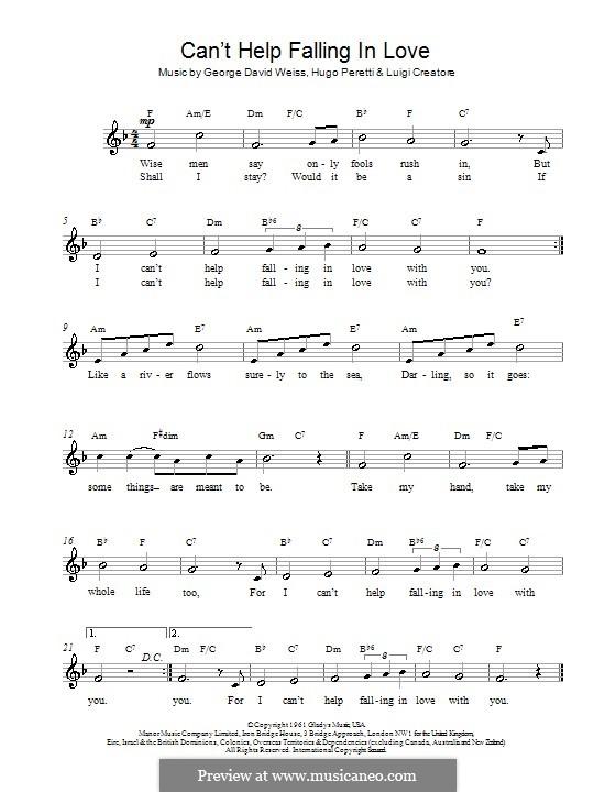 Can't Help Falling in Love: Melody line, lyrics and chords (UB40) by George David Weiss, Hugo Peretti, Luigi Creatore