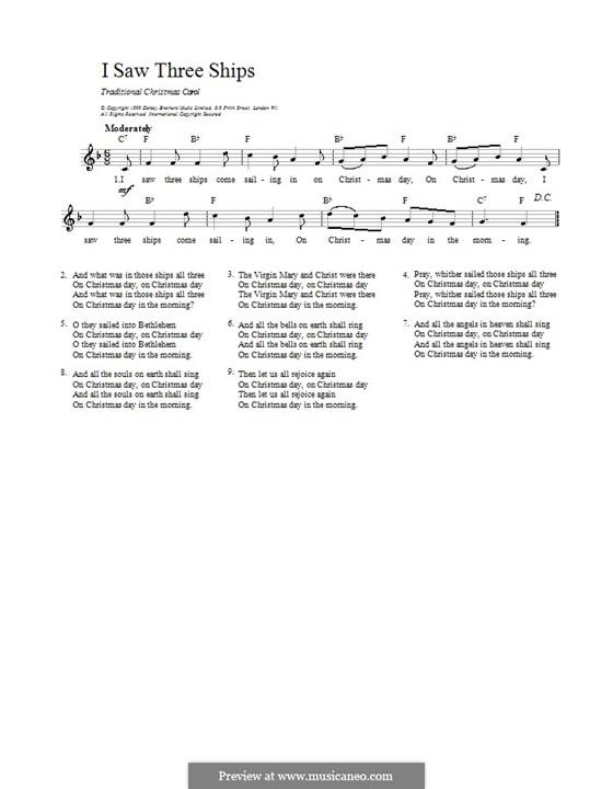 I Saw Three Ships: Мелодия, текст и аккорды by folklore