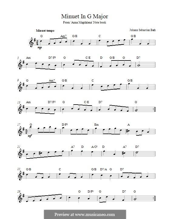 No.4 Менуэт соль мажор, BWV Anh.114: Мелодия, текст и аккорды by Иоганн Себастьян Бах