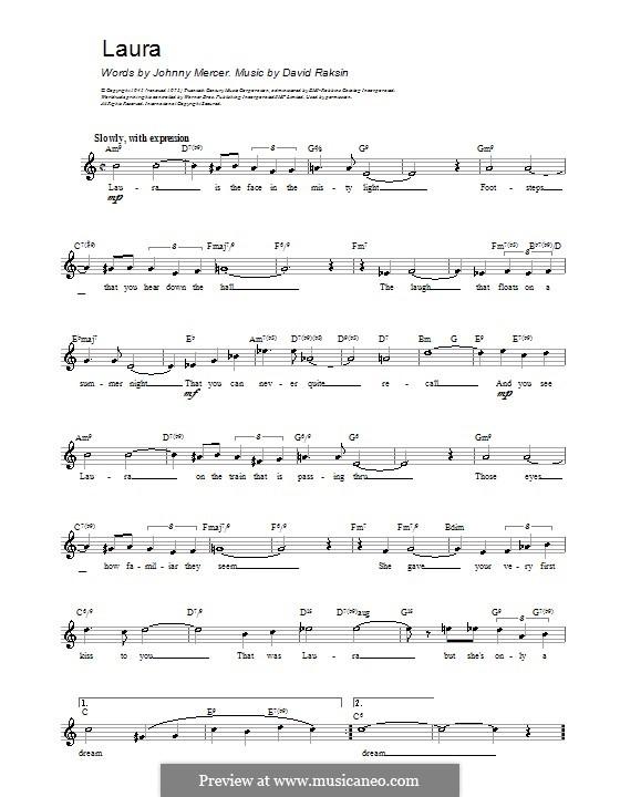 Laura (Frank Sinatra): Мелодия, текст и аккорды by David Raksin