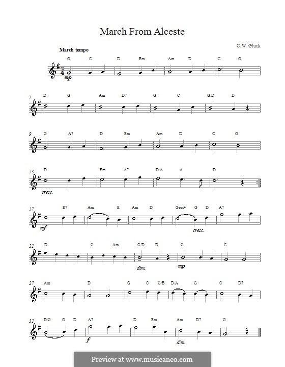Альцеста, Wq.44: March (melody line) by Кристоф Виллибальд Глюк