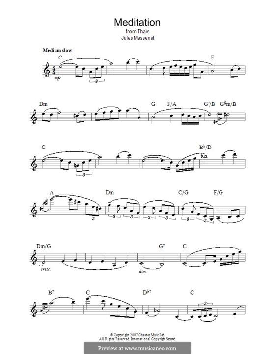 Размышление: Мелодия, текст и аккорды by Жюль Массне