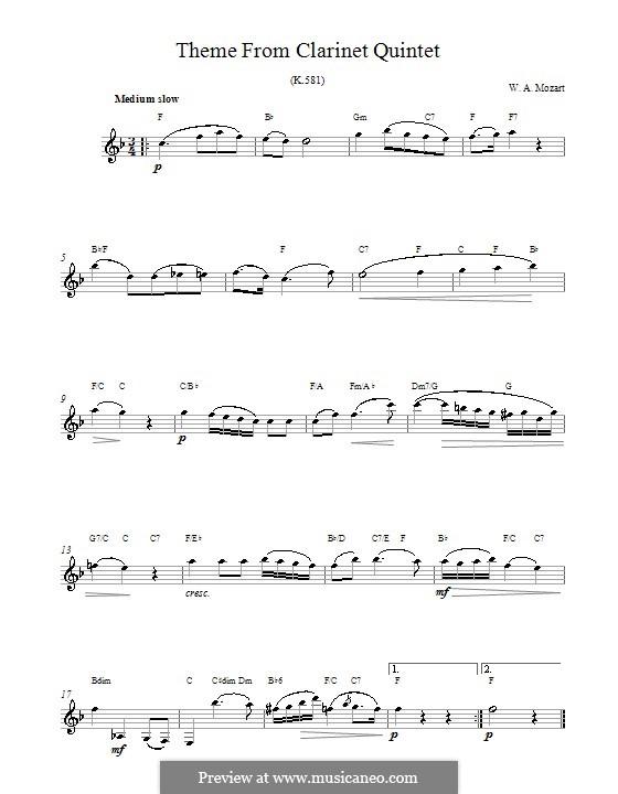 Квинтет для кларнета и струнных инструментов ля мажор, K.581: Movement II. Melody line and chords by Вольфганг Амадей Моцарт