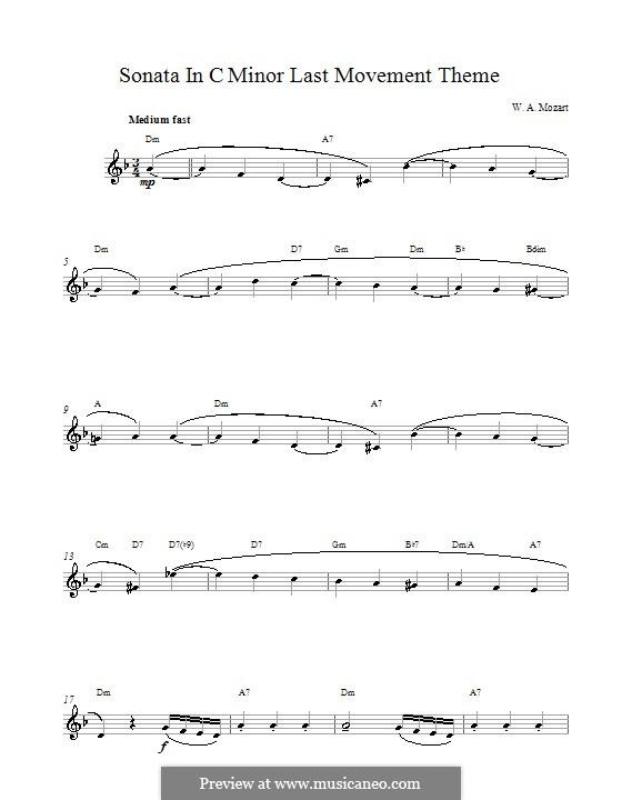 Соната для фортепиано No.14 до минор, K.457: Movement III. Melody line by Вольфганг Амадей Моцарт