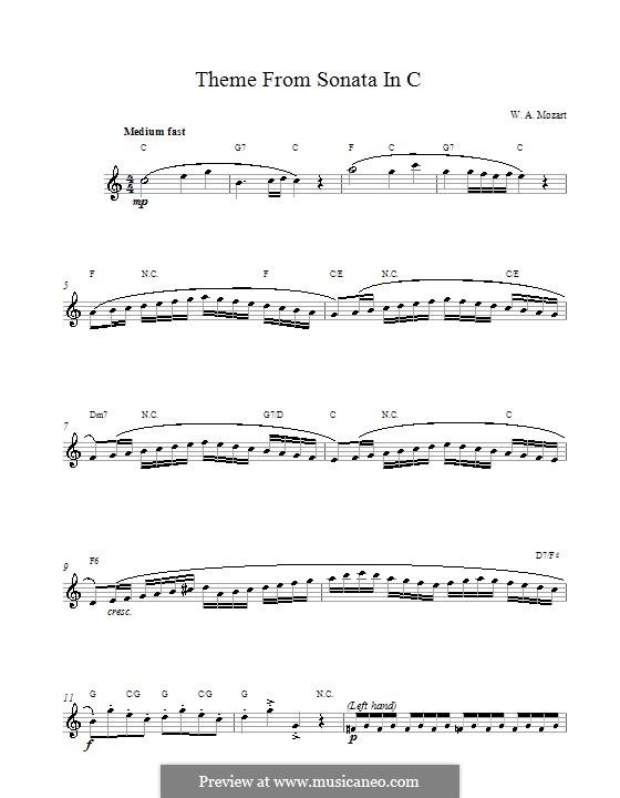 Соната для фортепиано No.16 до мажор, K.545: Movement I. Melody line and chords by Вольфганг Амадей Моцарт