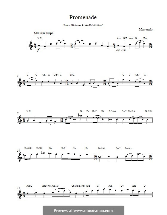 Прогулка I: Мелодия и аккорды by Модест Мусоргский