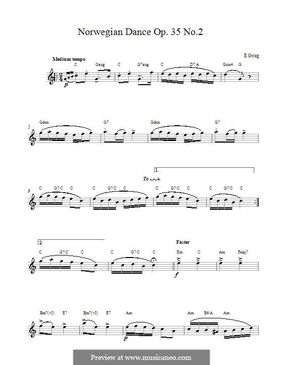 Четыре норвежских танца, Op.35: Dance No.2 (melody line) by Эдвард Григ