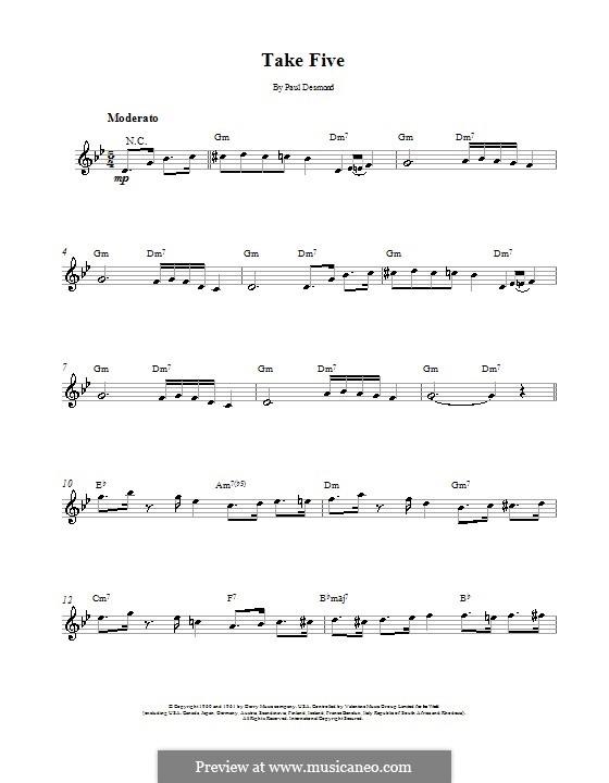 Take Five (Dave Brubeck): Мелодия и аккорды - инструменты in C by Paul Desmond