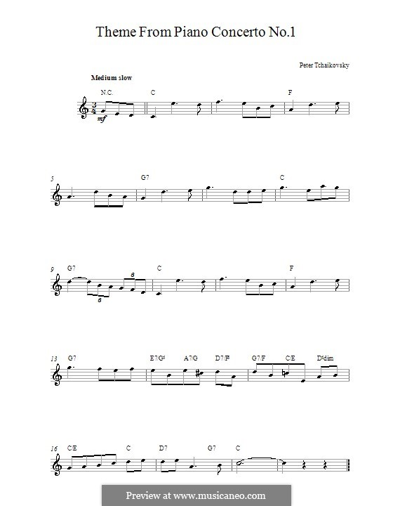 Концерт для фортепиано с оркестром No.1 си-бемоль минор, TH 55 Op.23: Movement I (Theme). Melody line and chords by Петр Чайковский