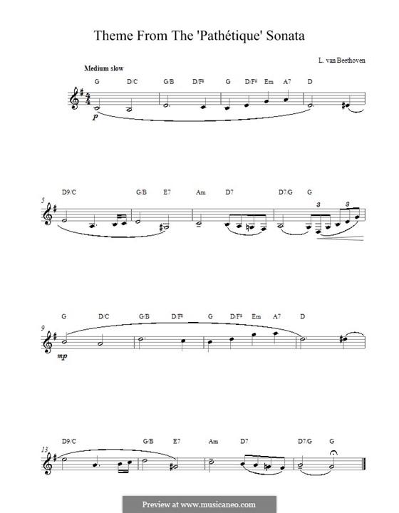 Часть II: Theme. Melody line, lyrics and chords by Людвиг ван Бетховен