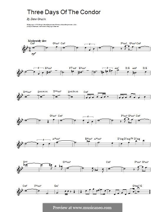 Three Days of the Condor: Мелодия, текст и аккорды by Dave Grusin
