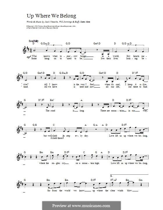 Up Where We Belong (Joe Cocker and Jennifer Warnes): Мелодия, текст и аккорды by Buffy Sainte-Marie, Jack Nitzsche, Will Jennings