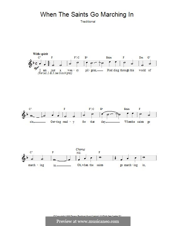 When the Saints Go Marching in: Мелодия, текст и аккорды by folklore
