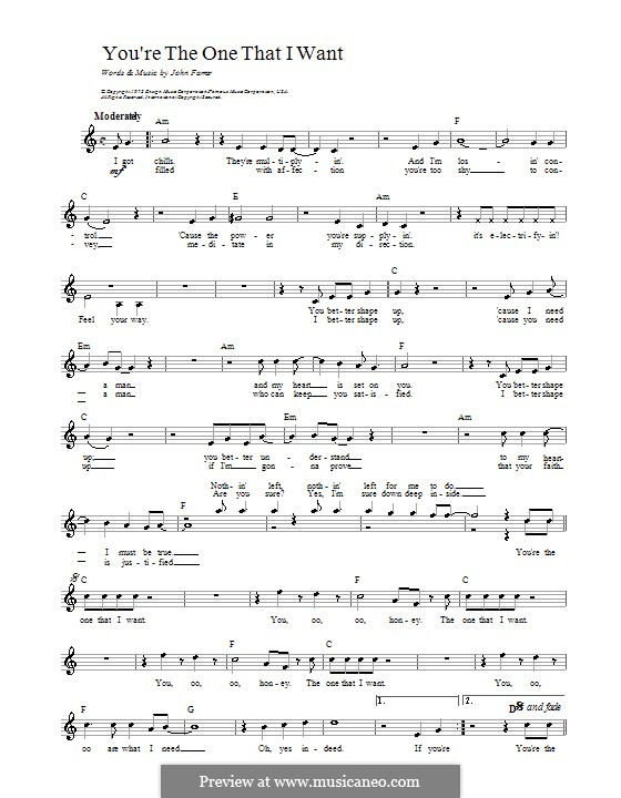 You're the One That I Want (from Grease): Melody line, lrics and chords by John Farrar