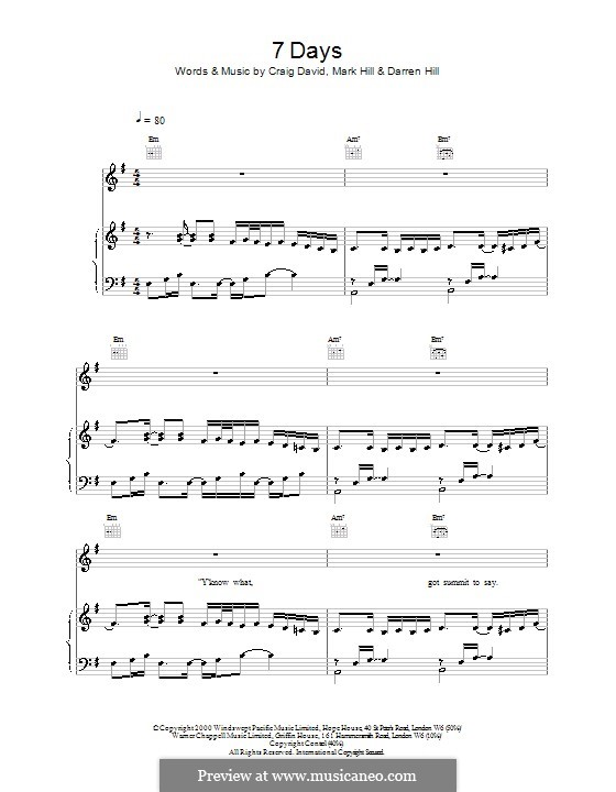 7 Days: Для голоса и фортепиано (или гитары) by Craig David, Darren Hill, Mark Hill