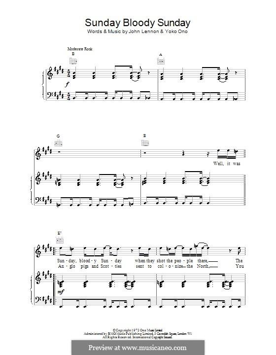 Sunday Bloody Sunday: Для голоса и фортепиано (или гитары) by John Lennon