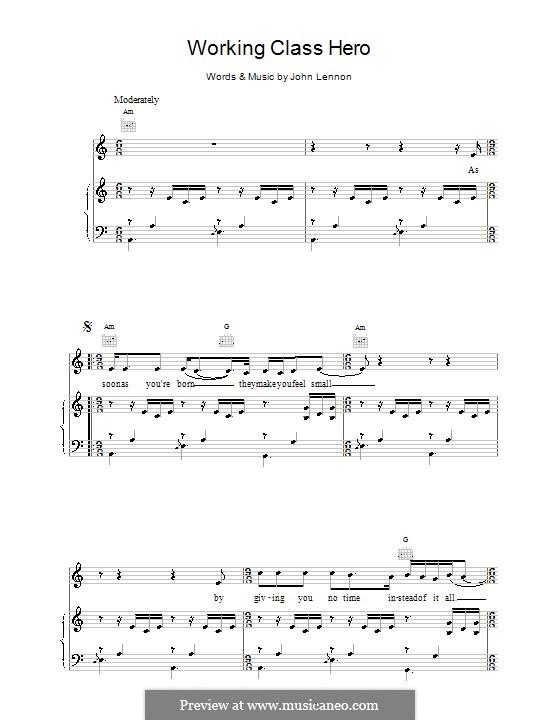 Working Class Hero: Для голоса и фортепиано (или гитары) by John Lennon
