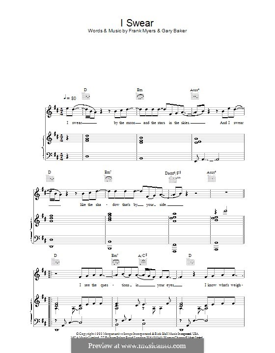 I Swear: For voice and piano or guitar (All-4-One) by Frank J. Myers, Gary Baker