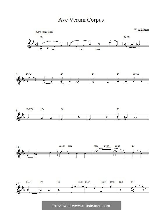 Ave verum corpus (Printabel Scores), K.618: Мелодия и аккорды by Вольфганг Амадей Моцарт