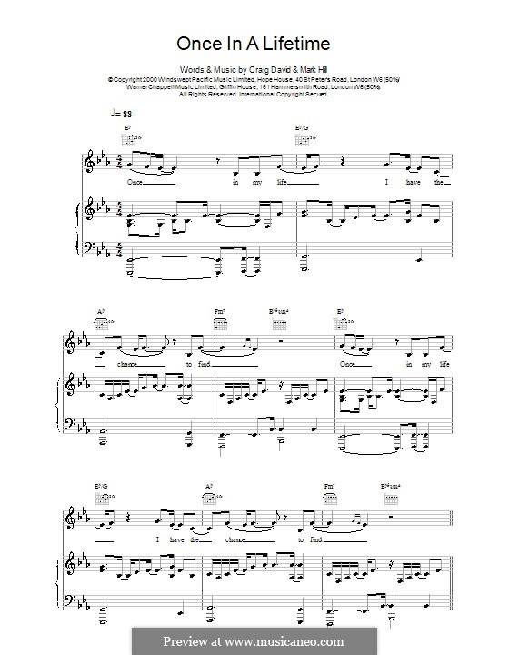 Once in a Lifetime: Для голоса и фортепиано (или гитары) by Craig David