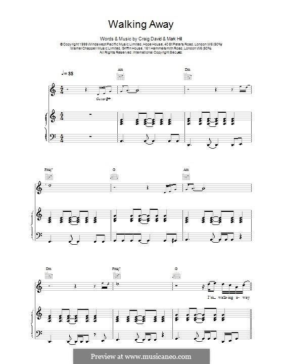 Walking Away: Для голоса и фортепиано (или гитары) by Craig David, Mark Hill