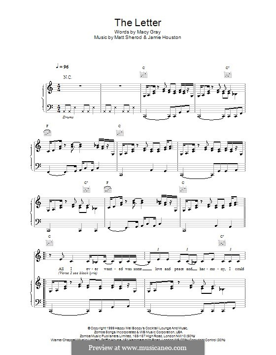 The Letter: Для голоса и фортепиано (или гитары) by Macy Gray