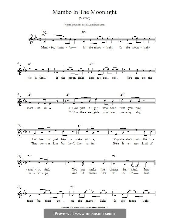Mambo in the Moonlight (Ireen Sheer): Мелодия, текст и аккорды by Buddy Kaye, Jules Loman