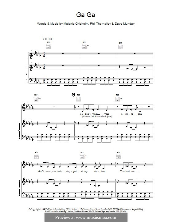 Ga Ga: Для голоса и фортепиано (или гитары) by Melanie C