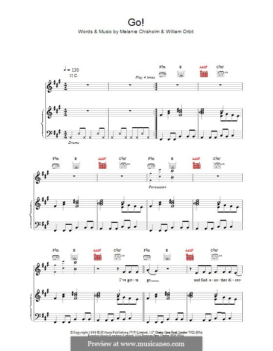Go!: Для голоса и фортепиано (или гитары) by Melanie C