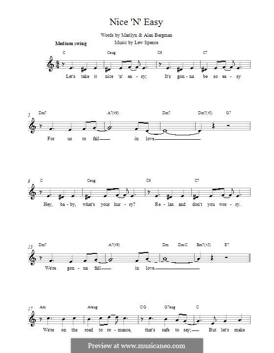 Nice 'n' Easy (Frank Sinatra): Мелодия, текст и аккорды by Alan Bergman, Lew Spence, Marilyn Bergman