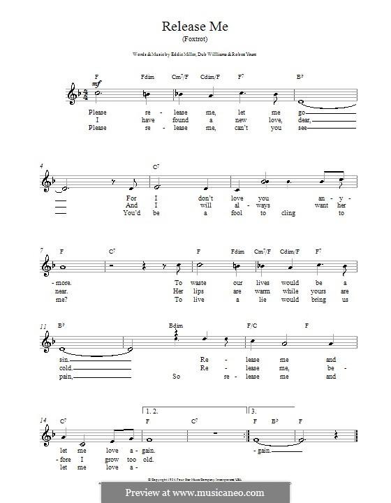 Release Me (Engelbert Humperdinck): Мелодия, текст и аккорды by Dub Williams, Eddie Miller, Robert Yount