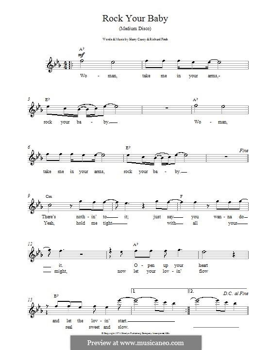 Rock Your Baby (George McRae): Мелодия, текст и аккорды by Harry Wayne Casey, Richard Finch