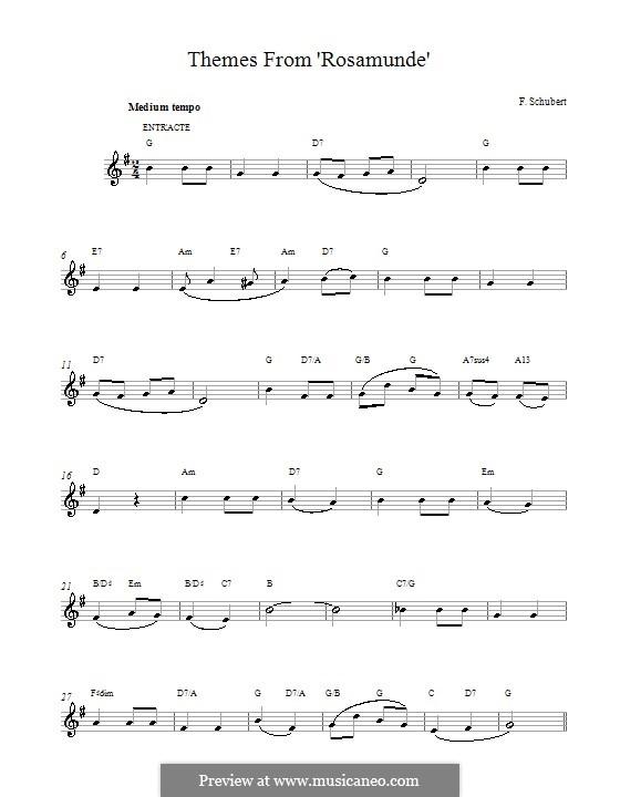 Фрагменты: Entr'acte (Theme), melody line by Франц Шуберт