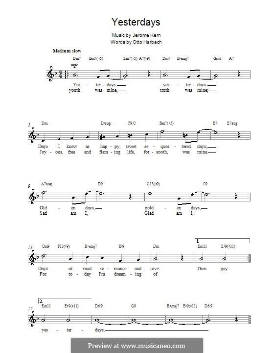 Yesterdays: Мелодия, текст и аккорды by Джером Керн