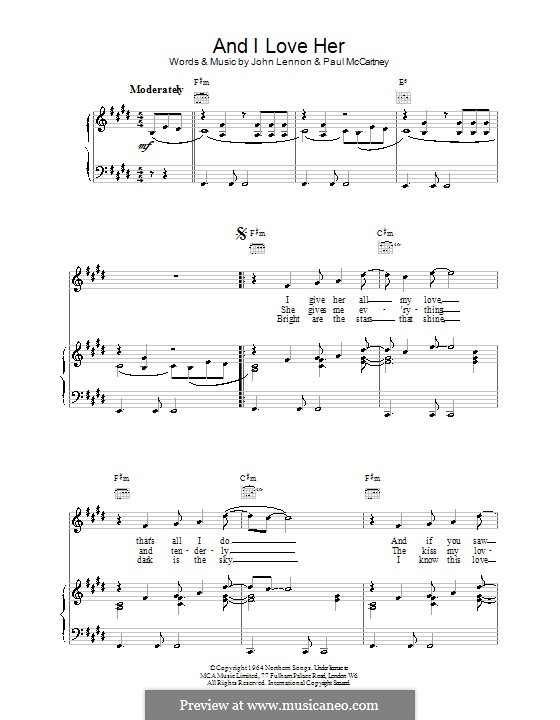 And I Love Her (The Beatles): Для голоса и фортепиано (или гитары) by John Lennon, Paul McCartney