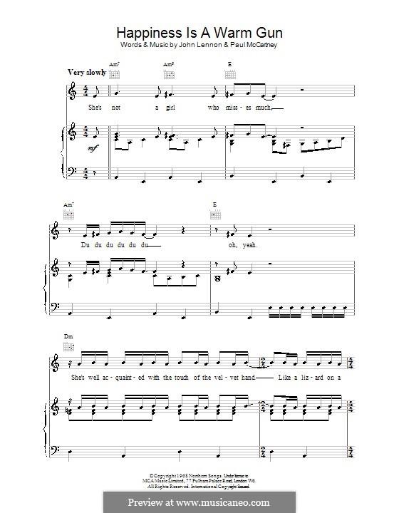 Happiness is a Warm Gun (The Beatles): Для голоса и фортепиано (или гитары) by John Lennon, Paul McCartney