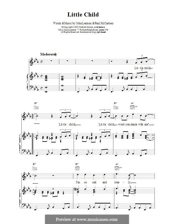 Little Child (The Beatles): Для голоса и фортепиано (или гитары) by John Lennon, Paul McCartney